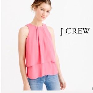 J. Crew Pink Tiered Crepe Top 0 NWT
